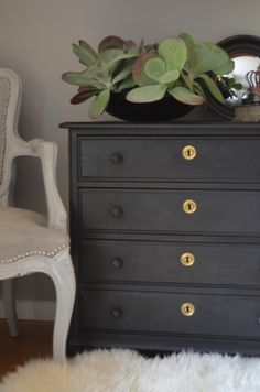 Dresser repainted with Annie Sloan's Chalk Paint in Graphite. Love this color. via ciruelo interiors