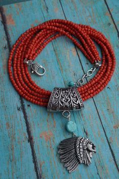 Native American Orange Coral and Turquoise by fleurdesignz on Etsy