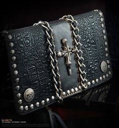 New Men's Tough Punk Cool Studd Chain Skull Cross Decoration Leather Wallet T/N
