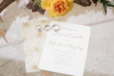 Sweet Palm Beach wedding invitation suite with rings details captured by Heather Funk Photography