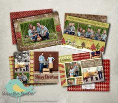 Holiday Rustic Christmas Card Templates  by SugarfliesDesigns, $19.00