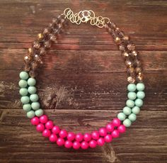 "The ""Beach Blanket"" Neon, Mint & Gold Crystal Statement Necklace. $62.00, via Etsy. Crave Jewelry."