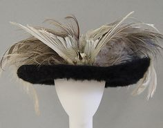 Hat 1905, French, Made of beaver fur and feathers. Although it is very beautiful, I totally against it. Beaver fur? cmon.