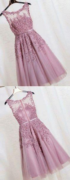 Beauty Pink Graduation Dress, Short Prom Dress, Tulle