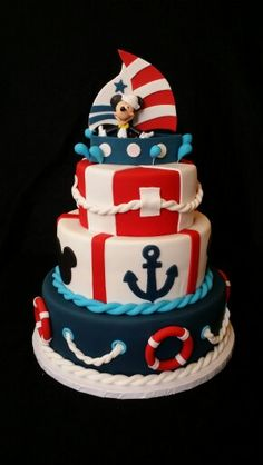 Mickey Nautical Cake                                                                                                                                                                                 More                                                                                                                                                                                 Más Sailor Birthday, Leo Birthday, 1st Birthday Themes, Happy Birthday Jesus, Mickey Birthday, Mickey Party, Nautical Mickey, Nautical Cake, Nautical Party