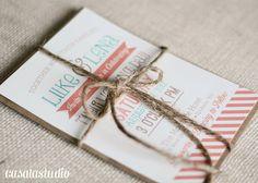 Rustic Vintage Turquoise & Coral Wedding Invite by casalastudio