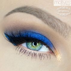 using all @motivescosmetics by @lorenridinger : Navy Shimmers in Moonlighting, Dark and light brown e/s from ELEMENTS palette, Black Luxe Precision Eye Line, Copper eyeshadow in Antique Gold, Blue Glitter Pot in Vivid Blue, Copper Glitter Pot in Magic Dust mixed with Glitter glue, Iconic lashes by @houseoflashes