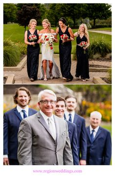 Wedding party photos at Sand Creek Country Club in Chesterton, Indiana.