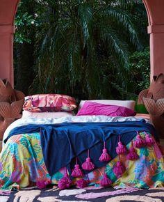 Tassel Bed Throw Indigo   Kip & Co **Pre-Order**