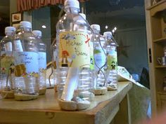 Message in a Bottle invitations: a plastic water bottle can be mailed through the US postal service