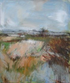 Janine Baldwin: 'Autumn Fields', oil and charcoal on canvas, 51cm x 42cm