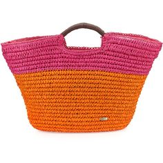 Cappelli Large Straw Market Tote Bag (64 CAD) ❤ liked on Polyvore featuring bags, handbags, tote bags, top handle purse, orange tote, top handle handbags, cappelli purse and cappelli