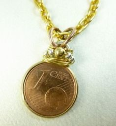 German One Cent Euro Coin Pendant
