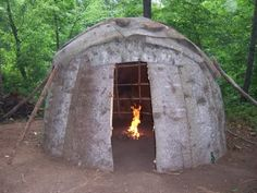 Actual recreation of a traditional Wigwam used by Native Americans and made of arched branches or poles covered with hides.