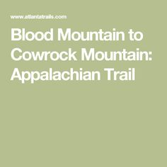 Blood Mountain to Cowrock Mountain: Appalachian Trail