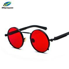 8ac76b2678 Pop Age 2018 Newest Round Steampunk Sunglasses Women Men Coating Mirror Spring  legs Sun glasses Vintage Red Oculos de sol