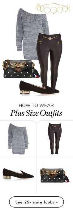"""""""plus size jocasta"""" by aleger-1 on Polyvore featuring Anissa Kermiche, Nicholas Kirkwood, Gucci and plus size clothing"""