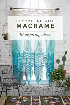 Macrame. It's not just for hippies anymore. And it's certainly having it's moment in the spotlight. I confess, I'm a bit obsessed with all things macrame and weaving lately. (I even bought myself a loom.) So how to incorporate a little bit of this boho vibe into your home? Scroll down for some ideas. HANGING CLOSET CURTAIN I love the idea of taking the utilitarian idea of hanging a curtain to disguise closet messes, but giving it a hip & textural update via A beautiful mess CHUNKY RU...