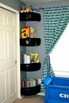 Tire shelfs in car themed room