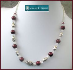 Burgundy Pearl Silver Necklace with Sterling by JewelryByScotti