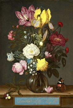 Bouquet of Flowers in a Glass Vase, 1621 - Ambrosius Bosschaert the Elder / National Gallery of Art, Washington DC Art Floral, Floral Design, National Gallery Of Art, Flower Vases, Flower Art, Flower Arrangement, Google Art Project, Still Life Flowers, Oil Painting Flowers