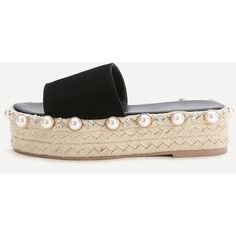 Black Faux Pearl Espadrille Flatform Slippers ❤ liked on Polyvore featuring shoes and slippers