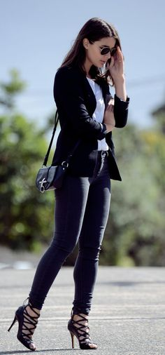 Sara Donaldson is wearing black jeans, top and blazer from Oasis, heels from Isabel Marant and RayBan singlasses