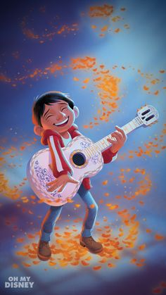 Miguel Rivera playing Hector's guitar with magic flower petals from Coco