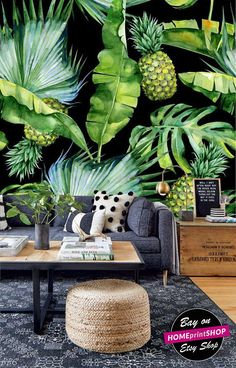Watercolor tropical leaves and pineapple wallpaper - wall art decor - Removable Self Adhesive peel and stick wallpaper / wall mural #38