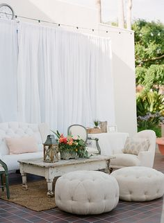 Tropical Chic Newport Reception Party, plush and comfortable furniture set up