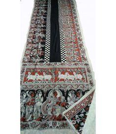 Black Red Pure Handloom Kalamkari Cotton Saree