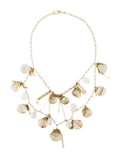 18K yellow gold multi strand necklace featuring bead set rutilated quartz and moonstone details with fishhook closure.