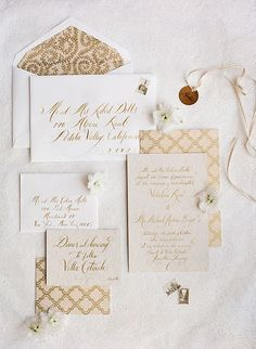 Eve Weinsheimer and Lesley Hathaway, the designers behind A Day in May, incorporated tuscan trellis and vine patterns into the stationery suite. Done in a beautiful beigey gold hue, calligrapher Tara Jones' lettering added a romantic touch. | Photo by Rebecca Lindon