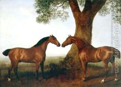 Two Bay Hunters by a Tree, 1786 by George Stubbs