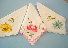 matching floral embroidered handkerchiefs $6.50