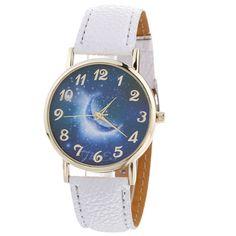>> Click to Buy << Starry Night Sky Blue Moon Pattern Quartz Wrist Watch Women Wrist Watches Fashion Leather Strap Quartz Analog Watch #Affiliate