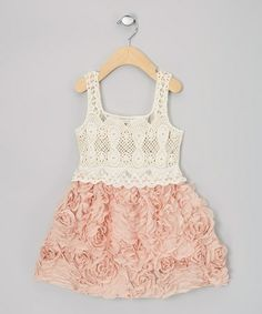 Take a look at this Rose & Cream Chiffon Rosette Dress - Infant, Toddler & Girls by Sweet Cheeks on #zulily today!
