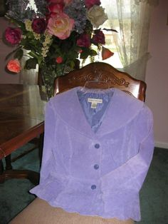 BAMBOO TRADERS PERIWINKLE BLUE SUEDE SCALLOPED JACKET W/ CAPE COLLAR