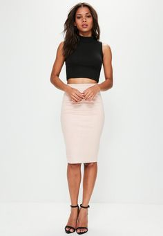 Missguided - Black Sleeveless Roll Neck Ribbed Crop Top