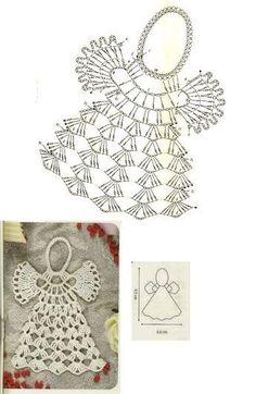 As Receitas de Crochê: Gráficos de anjos de croch crochetelements - Her Crochet Crochet Snowflake Pattern, Christmas Crochet Patterns, Crochet Snowflakes, Crochet Motif, Crochet Designs, Crochet Angels, Crochet Cross, Thread Crochet, Crochet Stitches