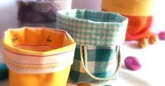 """S e non ricordo male, i primi cestini di stoffa li ho visti dalla perfezionista Ayumi, sul suo inimitabile blog:"""" Pink Penguin """" (Than... Fabric Boxes, Fabric Covered, Fabric Crafts, Tableware, Handmade, Hobby, Sewing Diy, Irene, Basket"""