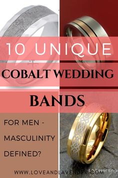 Cobalt men's wedding bands look stylish and unique. Cobalt chrome is a popular material for men's wedding bands as they are hypoallergenic and durable. If you are looking for cobalt rings that are unique, check this pin from Love and Lavender for some interesting ideas. #Cobaltrings #Cobaltweddingbands #Mensweddingbands #Uniqueweddingbands