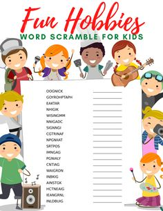 If your kids are looking for some new activities or hobbies to enjoy have them explore some fun new ideas with this free hobbies word search and word scramble. Free Kids Coloring Pages, Coloring Pages For Kids, Kid Check, Fun Hobbies, Kids Swimming, Some Fun, Cool Words, Word Search, Saving Money