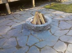 Superior Slate Patio With Fire Pit    How To Keep The Weeds From Growing Through The