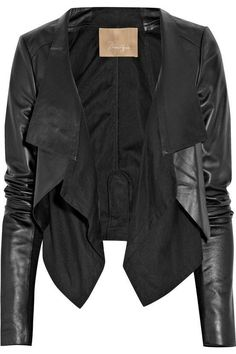 Long Sleeves Black Open Face Jacket