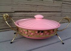 Pink Retro Casserole Dish / Miramar Pottery by Lauralous on Etsy, $40.00