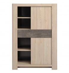 Magnifique meuble rangement composé de 2 portes et de plusieurs étagères coloris sableé et béton foncé