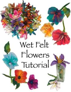Renate Kirkpatrick is a wonderful fibre artist and author of some very inspiring crochet and freeform books. I just spotted this lovely tutorial in her Etsy shop. Wet Felt Flowers Pattern Tutorial Digital Ebook by rensfibreart Felt Flowers Patterns, Diy Flowers, Fabric Flowers, Felted Flowers, Felt Roses, Crocheted Flowers, Wet Felting Projects, Felting Tutorials, Needle Felted