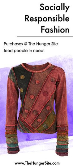 Fun. Unique. Handmade. Fair Trade. Do-Good. This shirt has it all. This purchase @ The Hunger Site funds 50 cups of food for the hungry! SHOP: www.Shop2Give.us/DiagonalRays