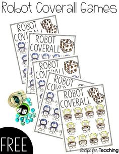 Five different versions of robot themed games. Students can practice number recognition, addition, and subtraction within the different games. Kindergarten Math Games, Math Activities, Preschool Activities, Math Resources, Free Games For Kids, Math For Kids, The Wild Robot, Robot Theme, Math Numbers